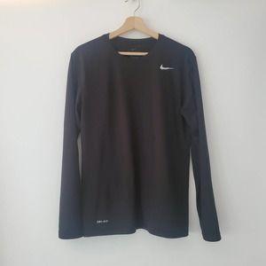 The Nike Tee Dri Fit Black Shirt Long Sleeve M